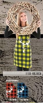 Tablier chevreuil sur carreaux rouge et noir   1100-4803N