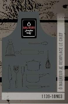 Tablier gris charcoal ô malheur je remplace le chef | 1139-18N03