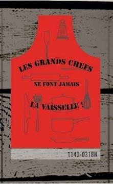 Tablier rouge imprimé ustensiles Les grands chef ne font jamais la vaisselle | 1140-0318N