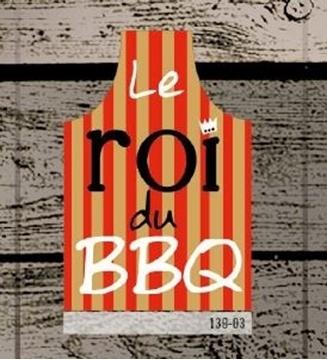 Tablier rouge à rayures chamois Roi du BBQ | 139-03