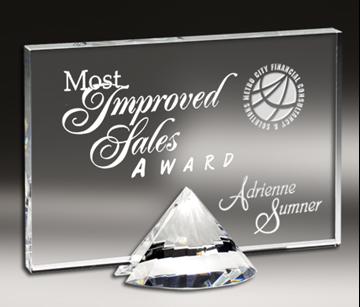 Image de Trophée  - Cristal - Plaque sur diamant CRY171