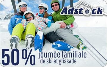 50% sur un laissez-passer journalier ski et glissade pour la famille, 2 adultes et 2 enfants de 12 ans et moins au Mont Adstock