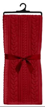Image de Jeté d'aspect cotelé en flanelle rouge