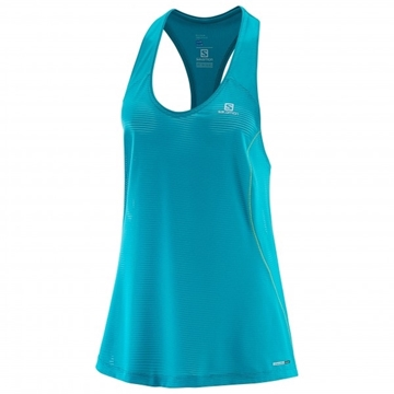 SALOMON - Camisole de course - ELEVATE TANK TUNIC W - Femme - Vert - Small