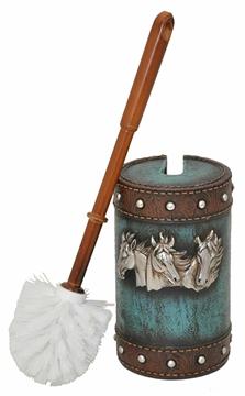 Brosse à toilette tête de cheval marron et turquoise