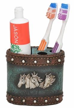 Porte brosse à dent Western  couleur marron et turquoise