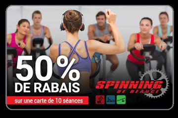 50% de rabais sur 10 séances au choix chez Spinning de Beauce