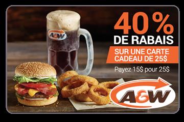 40% De Rabais Sur Une Carte Cadeau De 25$ Chez A&W St-Georges