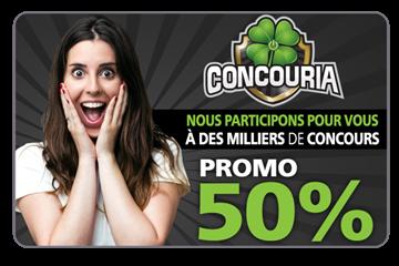 50% de rabais sur un abonnement annuel d'une valeur de 300$ pour participer à des milliers de concours avec Concouria.