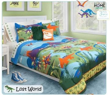 Ens. d'édredon et couvre-oreillers imprimés Lost World - Queen | 60517.3DQ.08