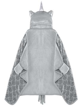 Image de Couverture licorne grise pour enfant à capuchon 50x30