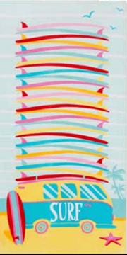 Image de Serviettes de plage amusantes en velours - Plaisirs d'été  CARAVAN
