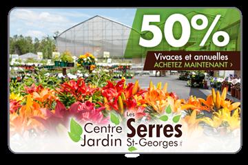 50% De Rabais Sur Une Carte Cadeau De 50$ Sur Des Plantes Vivaces Et Annuelles Chez Les Serres St-Georges