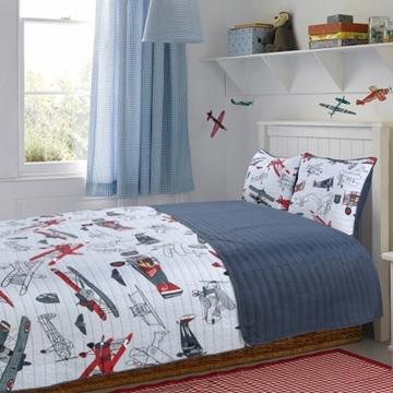 Ens. de courtepointe et couvre-oreillers imprimés avion Little Adrien - Lit simple | EX005GR806808664