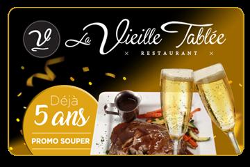 50% de rabais sur une carte cadeau de 50$ - SOUPERS SEULEMENT- Restaurant La Vieille Tablée