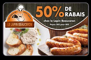 50% de rabais sur une carte cadeau de 40$ chez Le Lapin Beauceron