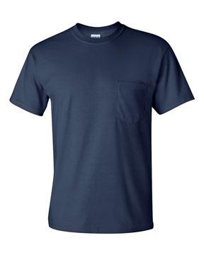 Image de t-shirt 2300 Gildan avec poche bleu