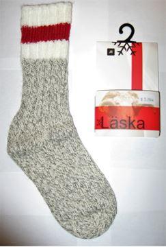 Image de bas de laine mérinos Läska pour enfant ligne rouge