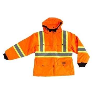 Image de manteau hiver doublé orange avec bandes réfléchissantes 10/4 JOB