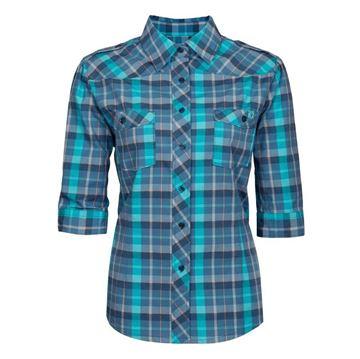 Image de chemise de travail en coton manche 3/4 Pilote et filles bleu