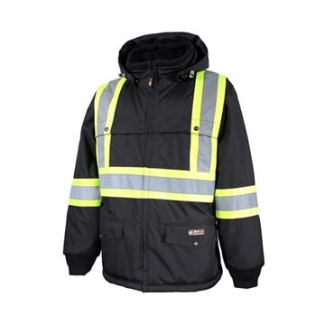 Image de manteau doublé avec bandes réfléchissantes 10/4 JOB noir