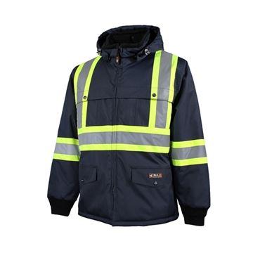 Image de manteau doublé avec bandes réfléchissantes 10/4 JOB marine/bleu