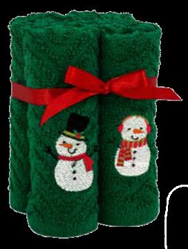Débarbouillettes de Noël vertes avec bonhomme de neige