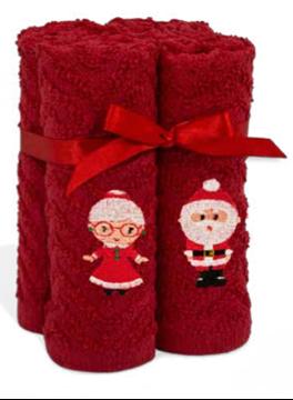 Débarbouillettes de Noël rouges avec Père Noêl