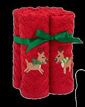 Débarbouillettes de Noël rouge avec reines