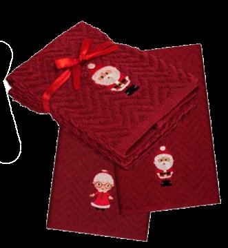 Serviette à main de Noël rouges avec Père Noêl