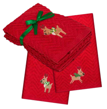 Serviettes à main de Noël rouges avec reines