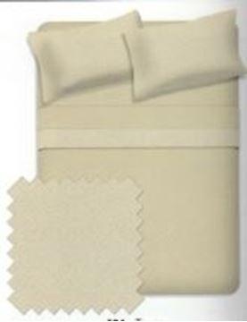 Ens. de draps anti-boulochage en micro molleton taupe pour lit Queen