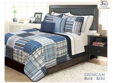 Ens. de courtepointe et couvre-oreillers imprimés bleu pour lit simple - Duncan | 60501.2T.13