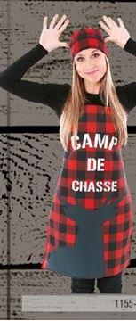 Tablier Camp de chasse sur carreaux rouge et noir | 1155-4803
