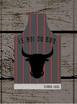 Tablier gris charcoal à rayures rouges Roi du BBQ | 139BR-1803