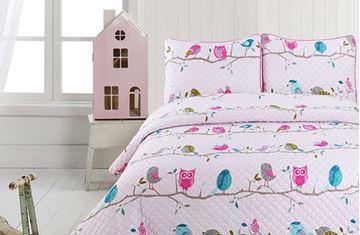 Ens. de courtepointe et couvre-oreiller imprimés hiboux Little Adrien - Queen | MAISY31208608640