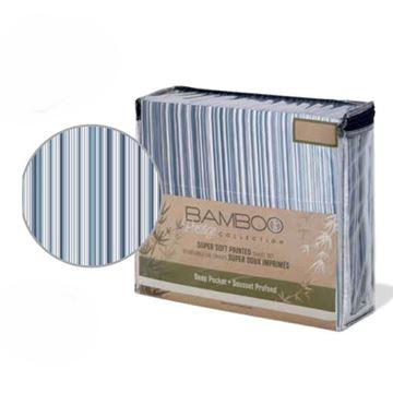 Ens. de draps super doux imprimés rayures ombrées bleu marine - Queen | 38372.4Q.13