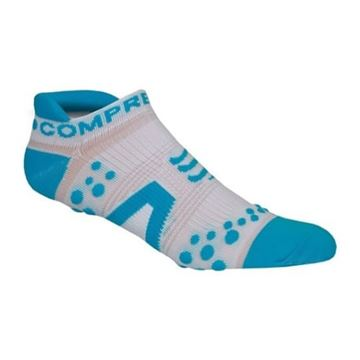 COMPRESSPORT - Bas compression de course Run court - Bleu/blanc - T3