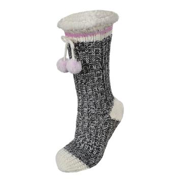 Image de Bas pantoufles-Tricot acrylique-Peluche-Pompon gris et rose