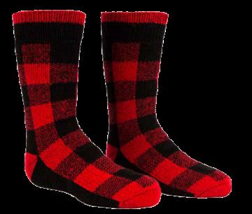 Image de Bas thermique pour enfant à carreaux rouges