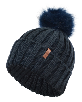 Image de Tuque marine en tricot épais  avec pompon