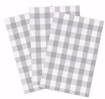 Image de Linges à vaisselles gaufrés  carreaux gris 3/ paquets 19 x 29