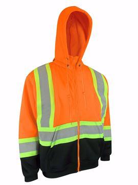 Image de Cotton ouaté  ( manteau) à capuchon orange avec bandes réfléchissantes