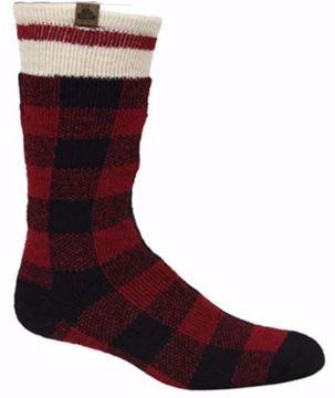 Image de Bas de laine pour homme rouge et noir à carreaux