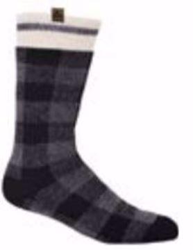 Image de Bas de laine pour homme gris et noir à carreaux