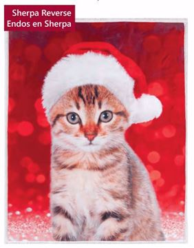 Image de Jet de Noël endos en sherpa chaton 48 x 60