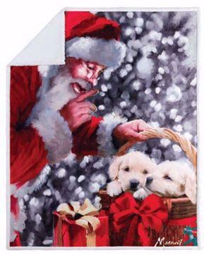 Image de Jeté de Noël endos en sherpa chiots du père de noël 48 x 60