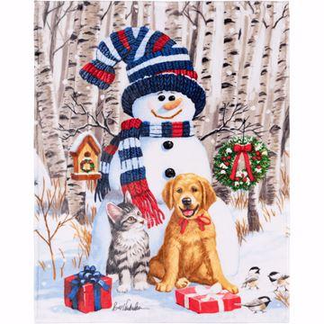 Image de Jeté en microvision 48 x 60 bonhomme de neige avec chat & chien