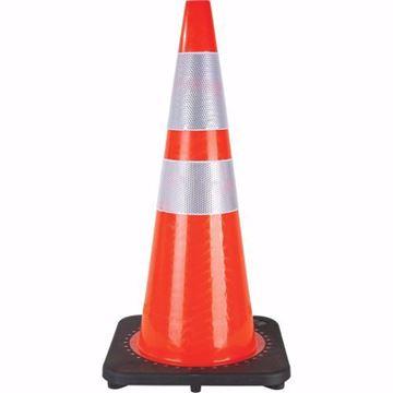 Image de Cônes 28'' orange avec 2 bandes réfléchissantes base noir