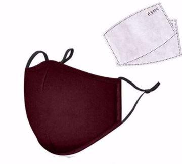 Image de Masque rouge en tissus lavable vient avec 2 filtres au charbon